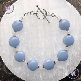 Angelite Coin & White Agate Bracelet